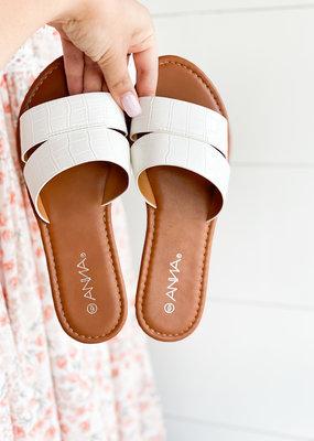 Croco Strap Slip On Sandal