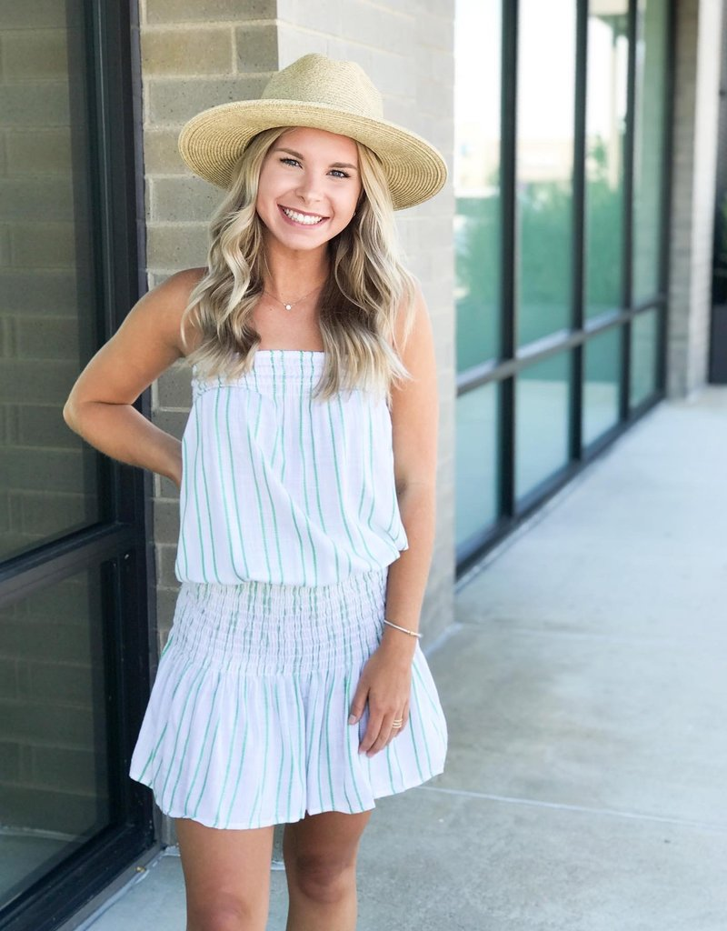 StripedMini Dress with Ruched Middle