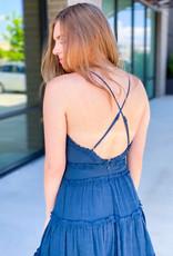 Linen Mix Cross Back Dress