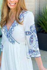 Floral Cut-Out Trim Wrap Dress