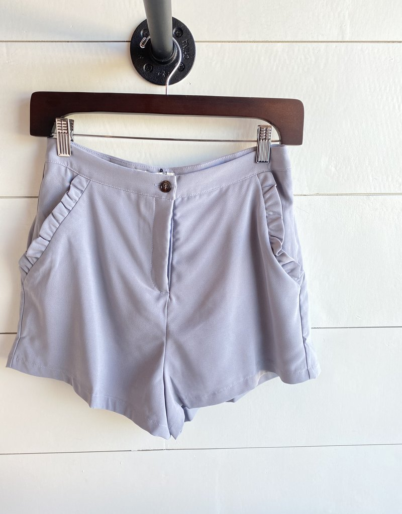 Woven Shorts with Ruffle Pocket Trim