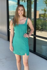 Fitted Mini Dress with Bottom Notches