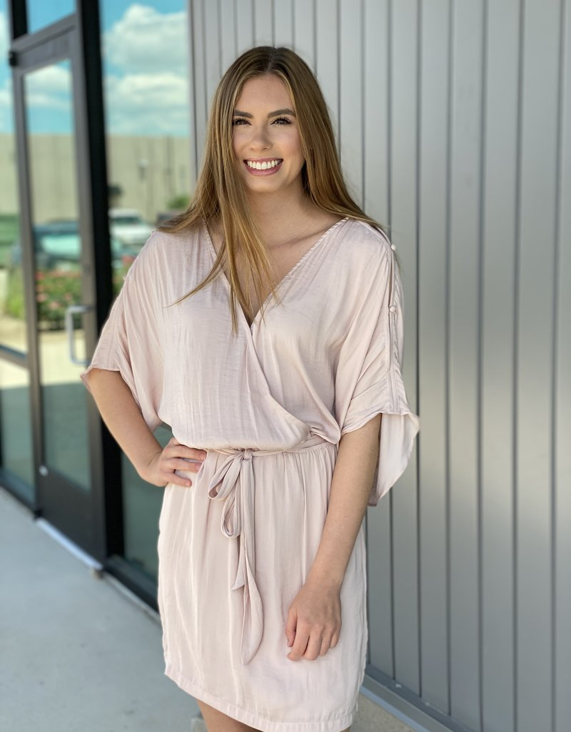 Button Flare Sleeve Dress with Tie Waist