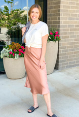 Satin Midi Skirt with Zipper