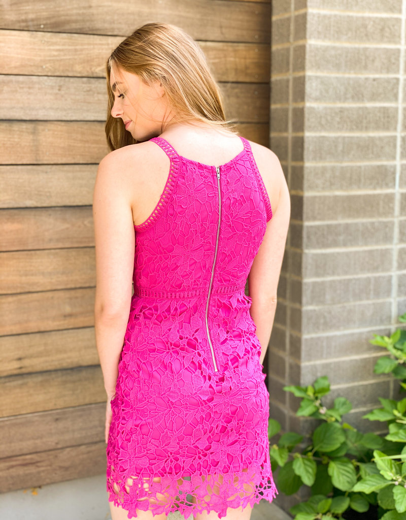 Thick Lace High Neck Bodycon Dress