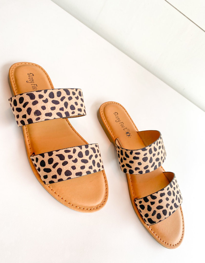 Leopard Double Strap Slip On Sandal