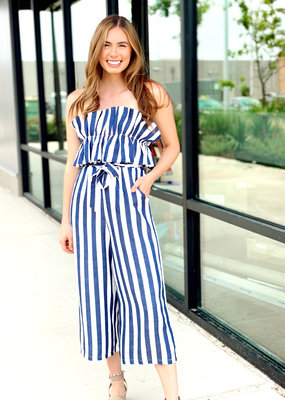 Ruffle Top Striped Jumpsuit