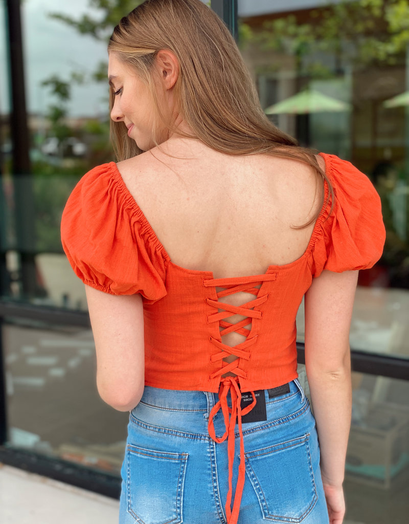 Cross Front Crop with Lace Up Back