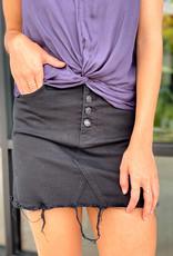 Button Down Distressed Hem Mini Skirt