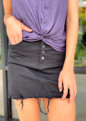 Button Down Distressed Hem Mini Skirt