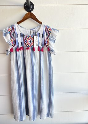 Striped Dress with Embroidered Top and Tassels