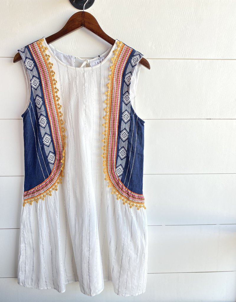 Striped Dress with Curve Side Embroidery