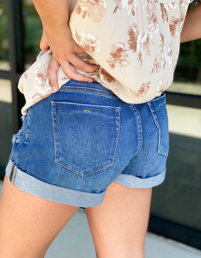 Cuffed Stretch Denim Shorts with Light Distressing