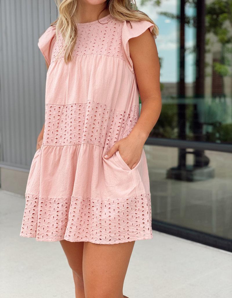 Cut Out Crochet Detail Babydoll Dress