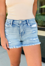 Distressed Shorts with Frey Hem