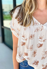 Floral Drop Shoulder V Neck Blouse