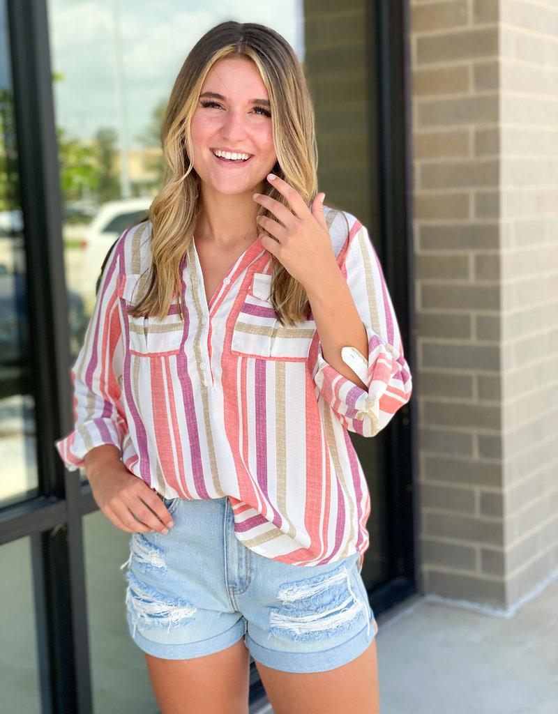 Bright Striped Button Down Blouse