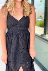 Eyelet Button Chest Midi Dress