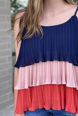 Layered Color Block Pleated Cami
