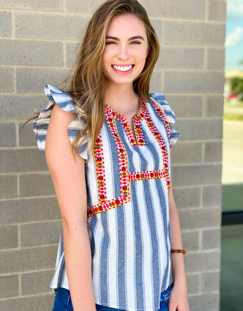 Stripes and Embroidered Ruffle Sleeve Top