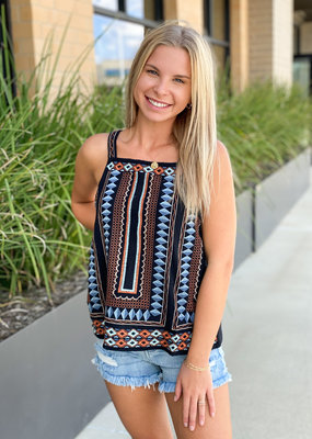 Embroidered Square Neck Tank
