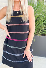 Mini Dress with Rainbow Stitched Stripes
