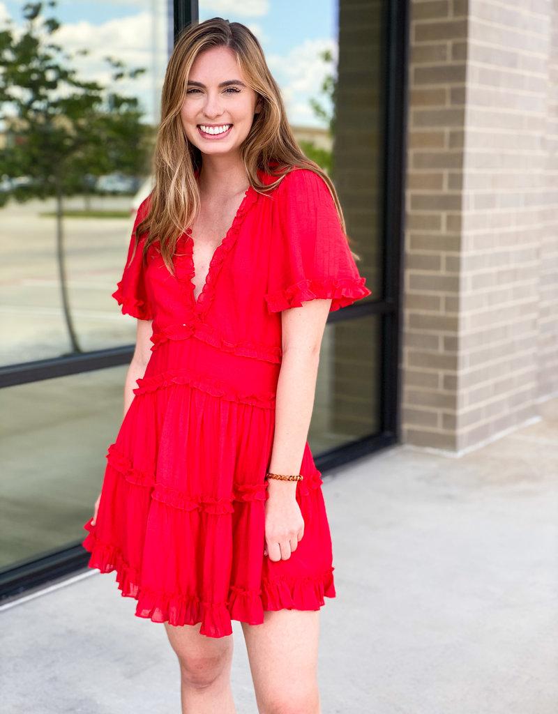 Open Back and Ruffle Trim Mini Dress