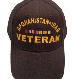 Afghanistan-Iraq Veteran Hat with Ribbons Black