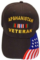 5f0a1e1577d MidMil Afghanistan Veteran Hat with Ribbon and Red White and Blue Flag on bill  Black