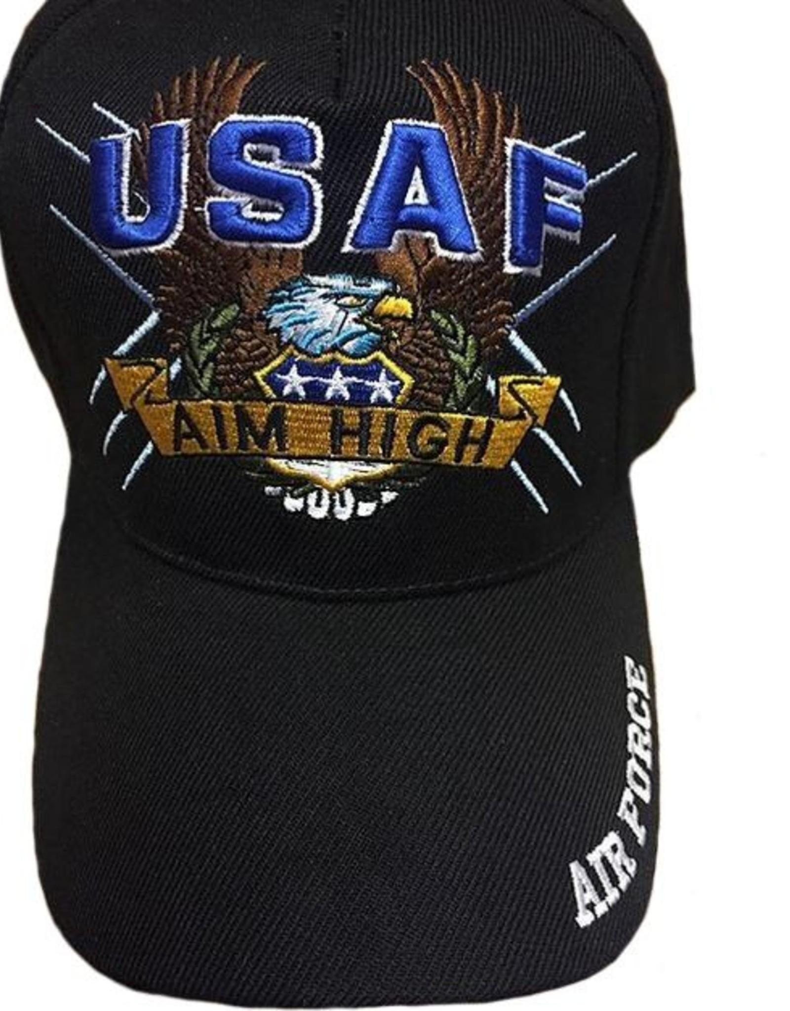 """MidMil USAF Aim High Hat with Eagle """"Air Force"""" on bill Dark Blue"""