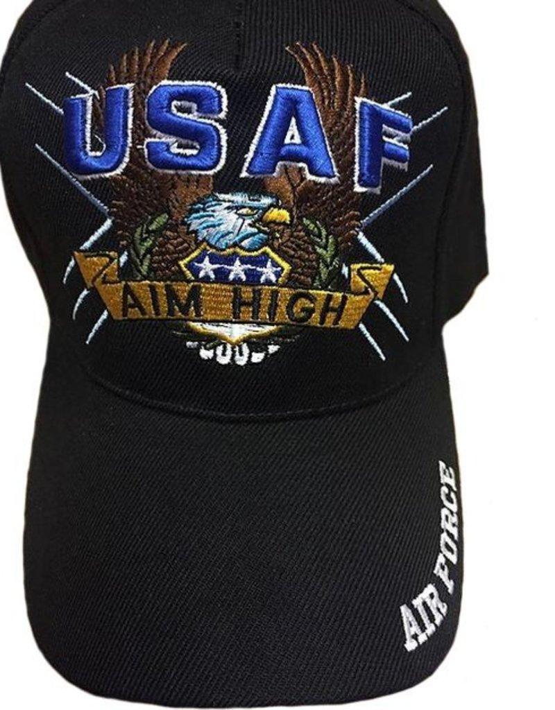 """USAF Aim High Hat with Eagle """"Air Force"""" on bill Dark Blue"""