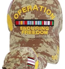 MidMil Afghanistan Operation Enduring Freedom Hat with Medal and Ribbons on Desert Digital Camouflage