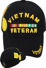MidMil Vietnam Veteran Hat with Medal Shadow and Ribbons Black