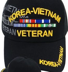 Korea-Vietnam Veteran Hat with Shadow and Ribbons Black
