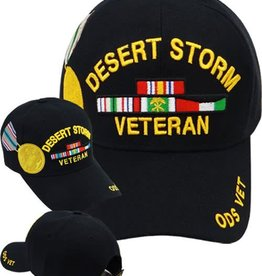 MidMil Desert Storm Veteran Hat with Medal and Ribbons Black