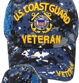 MidMil Coast Guard Veteran Hat with Emblem Blue Digital Camouflage