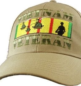 MidMil Vietnam Veteran Hat with Incoming Choppers on Ribbon Khaki