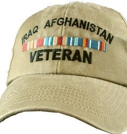 Iraq Afghanistan Veteran Hat with Ribbons Olive Drab