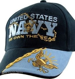 "MidMil United States Navy Hat with ""We Own the Seas"" Motto Dark Blue"