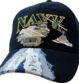 MidMil Navy Carrier Hat with Wake on Bill Dark Blue