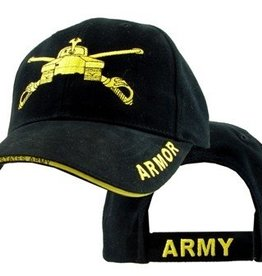 Army Armor Hat with Emblem and Sandwich Bill Black