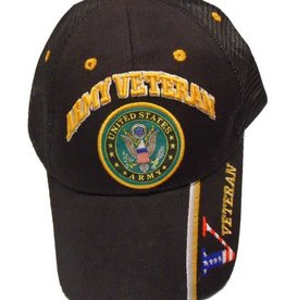 Army Veteran Hat with Seal Trucker-Mesh Black
