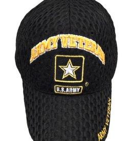 Army Veteran Hat with Star Emblem on  Honeycomb Mesh Black