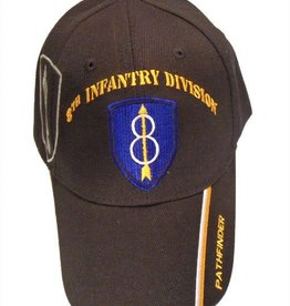 Army 8th Infantry Division Hat with Emblem, Motto and Shadow Black