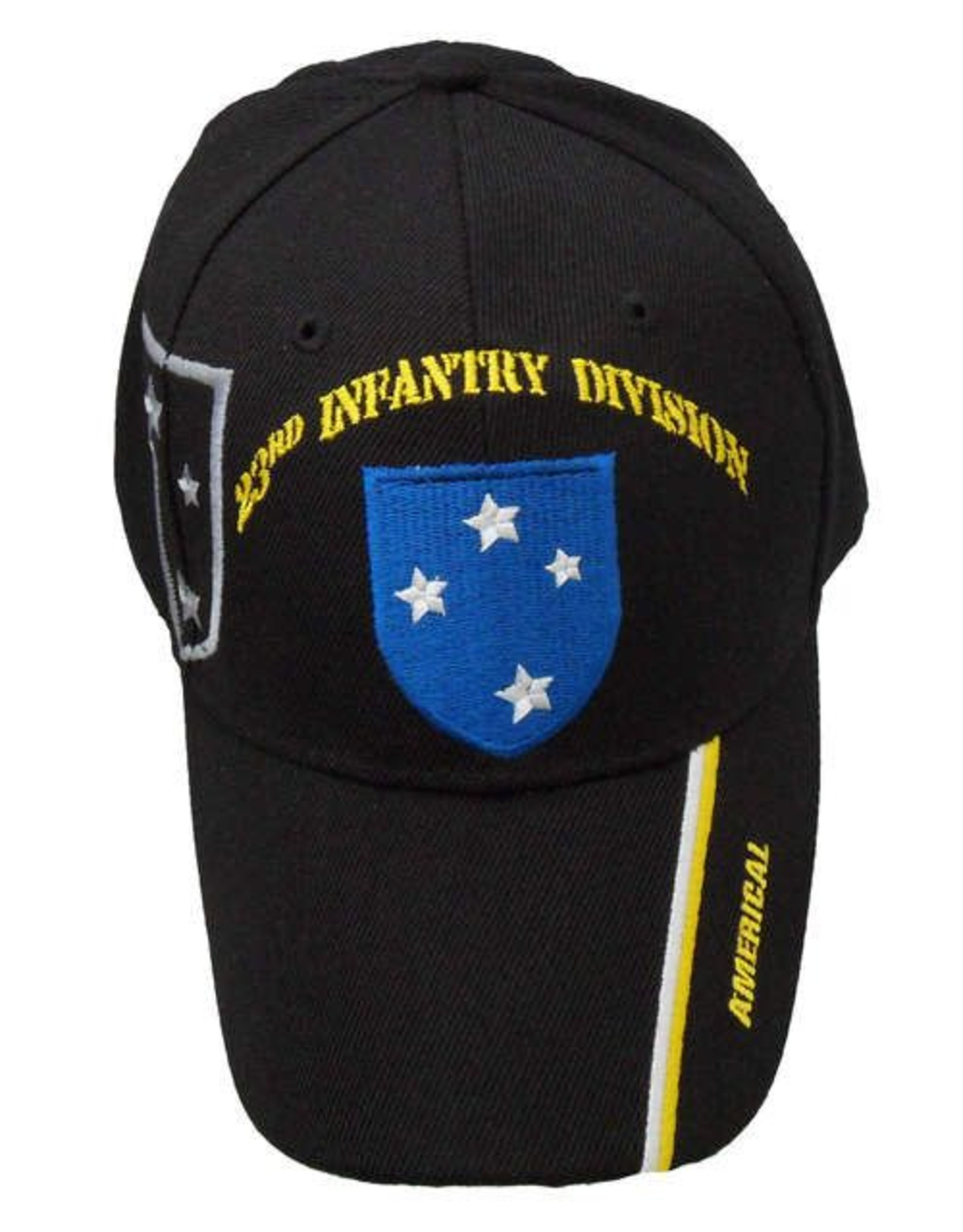 """MidMil Army 23rd Infantry Division Hat with Shadow and """"Americal"""" on bill Black"""