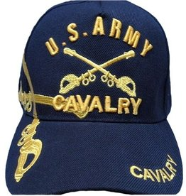 Army Cavalry Hat with Emblem and Over Shadow Black