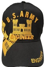 MidMil Army Engineer Hat with Emblem and Over Shadow Black