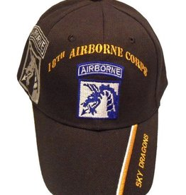 """Army Airborne 18th Corps Hat with """"Sky Dragons"""" and  Shadow Black"""