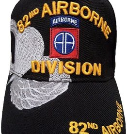 MidMil Army 82nd Airborne Division Hat with Emblem and Parawings Over Shadow  Black