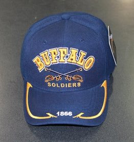 Army Buffalo Soldier Cavalry Hat with Emblem Blue